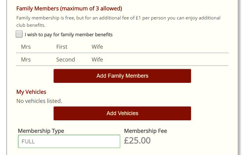 Crossmember optional family membership 1