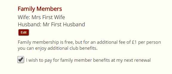 Crossmember family member membership record
