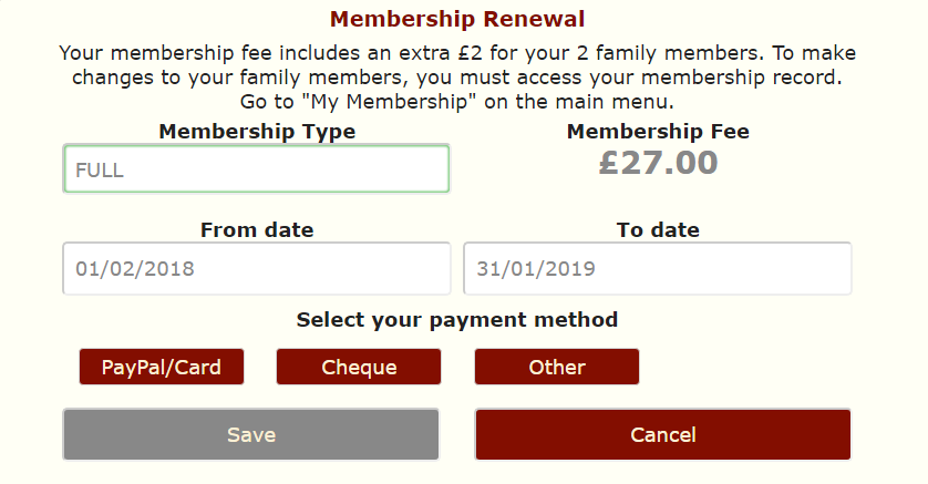 Crossmember membership renewal